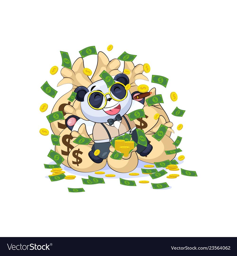 Panda in business suit lies happy on bags money