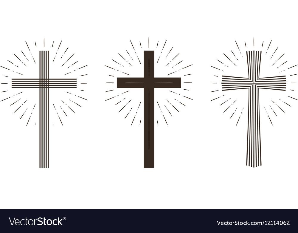Religion cross icon or symbol vector image