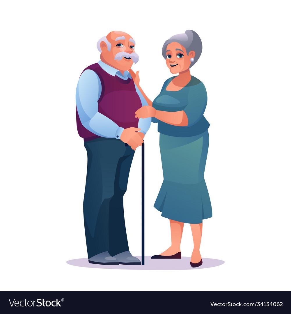 Romantic pensioners elderly couple in love isolate