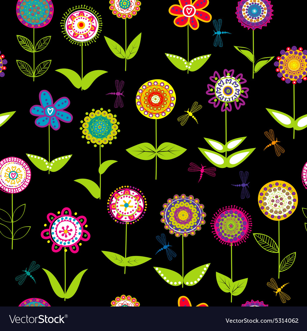 Whimsical flowers background vector image