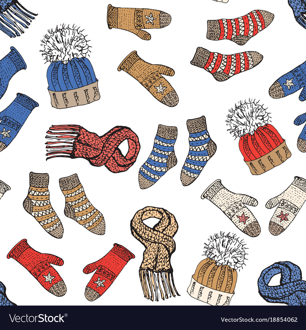 Winter season doodle clothes seamless pattern