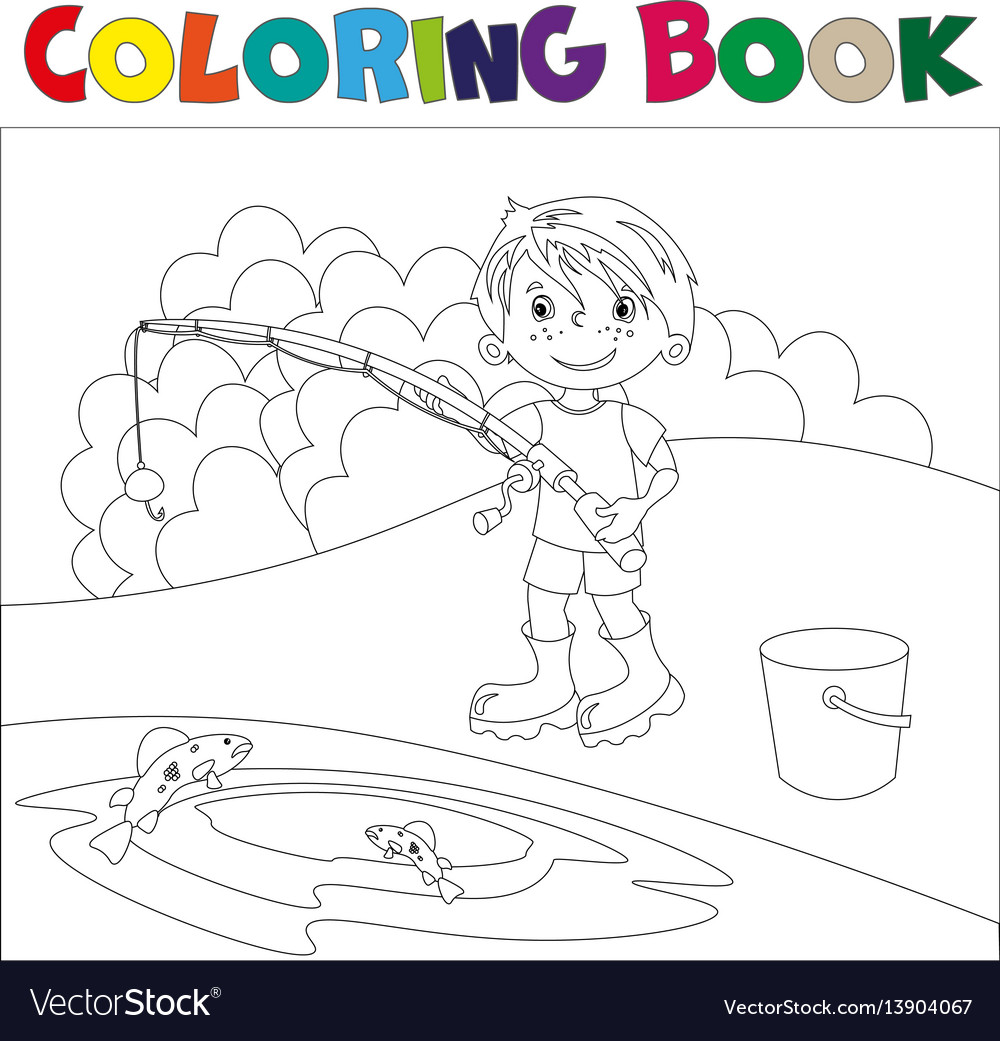A boy is fishing book coloring book