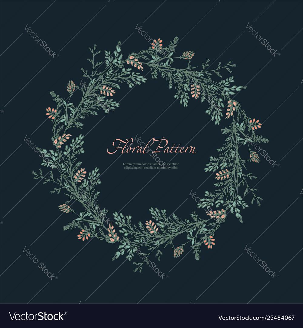 Abstract floral round pattern on dark background