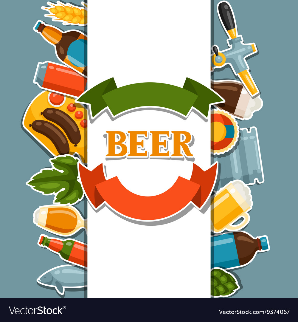 Background design with beer stickers and objects