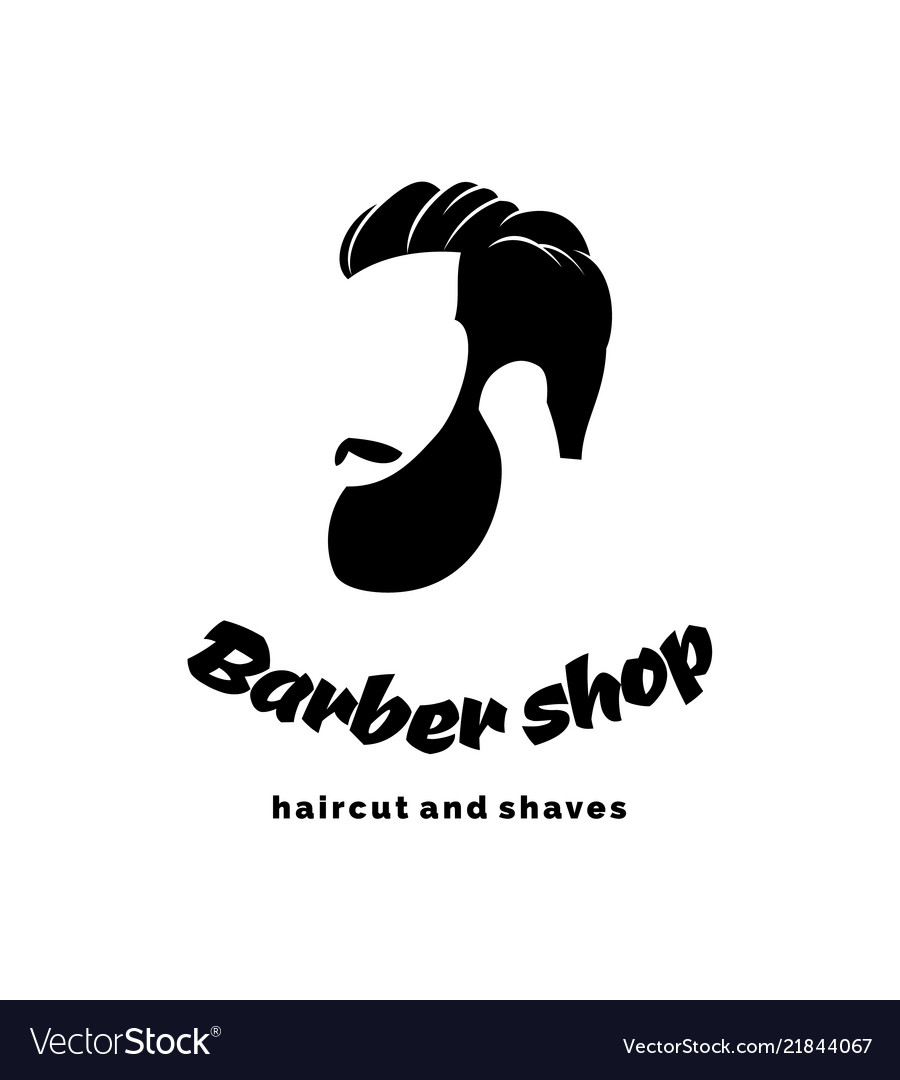Barber shop logo the barber handsome man with