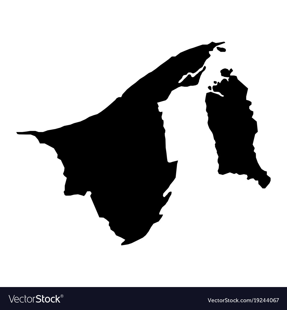 Picture of: Black Silhouette Country Borders Map Of Brunei On Vector Image