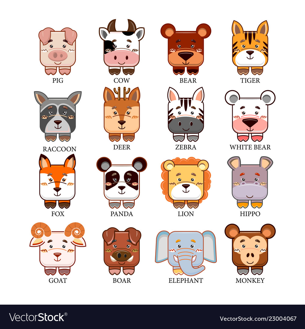Cartoon cute animals head collection set