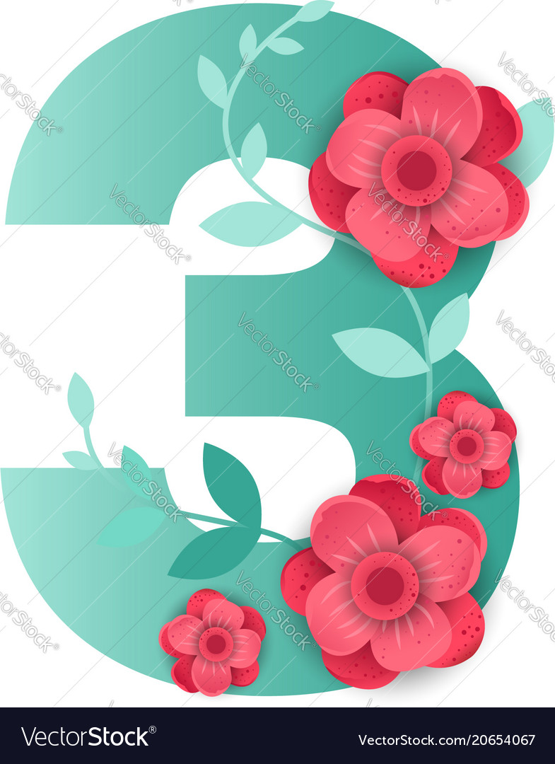 Color number 3 with beautiful flowers Royalty Free Vector
