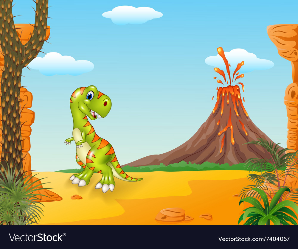 Cute tyrannosaurus running with the volcano backgr