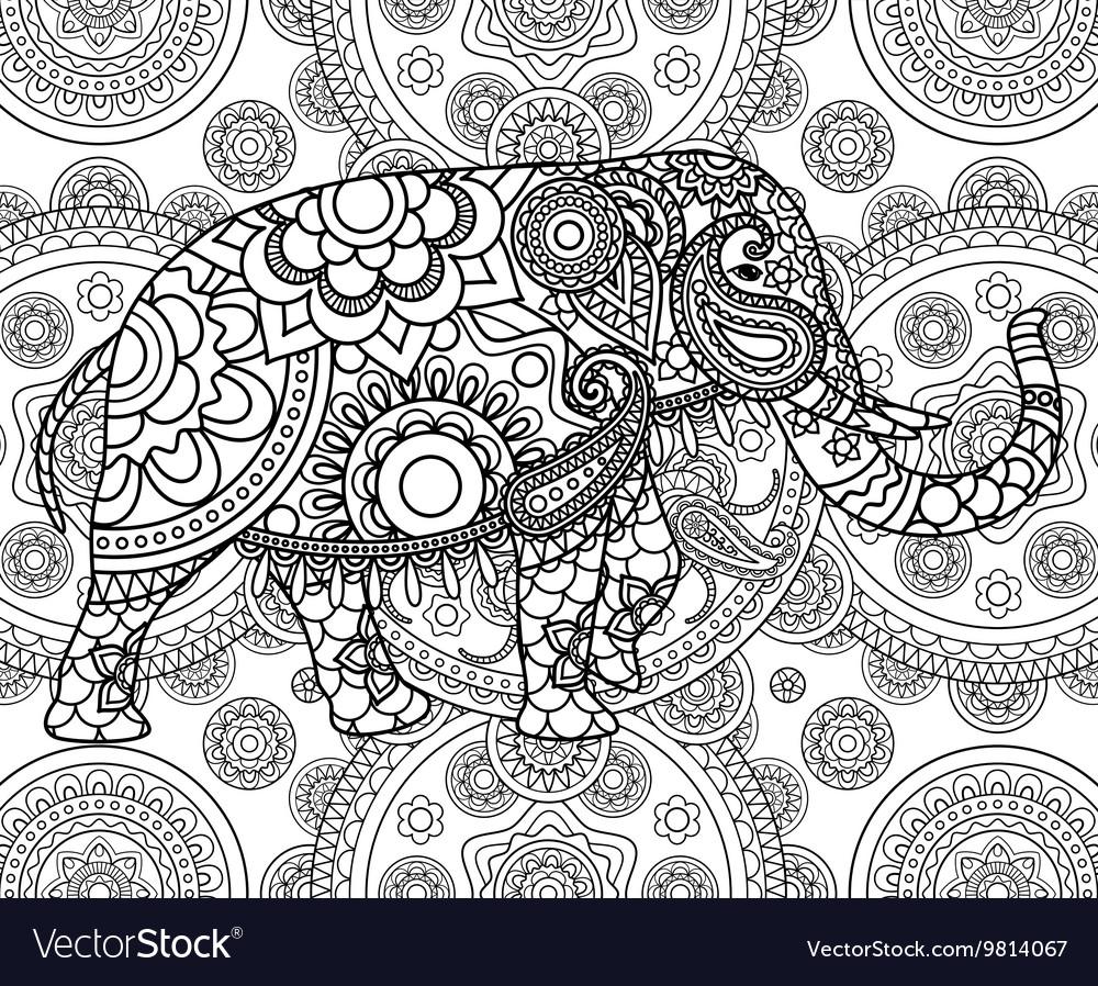 Ethnic Indian elephant over ornate background vector image