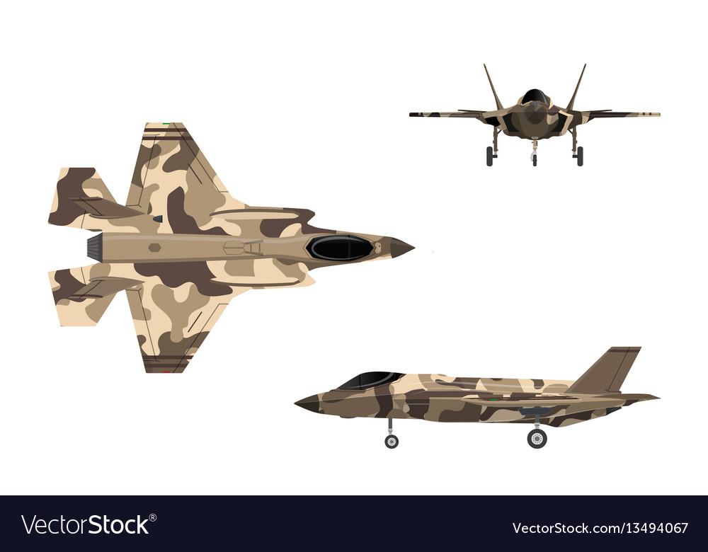 Fighter jet war plane in flat style