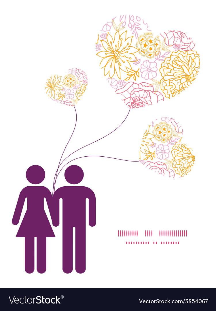 Flowers outlined couple in love silhouettes