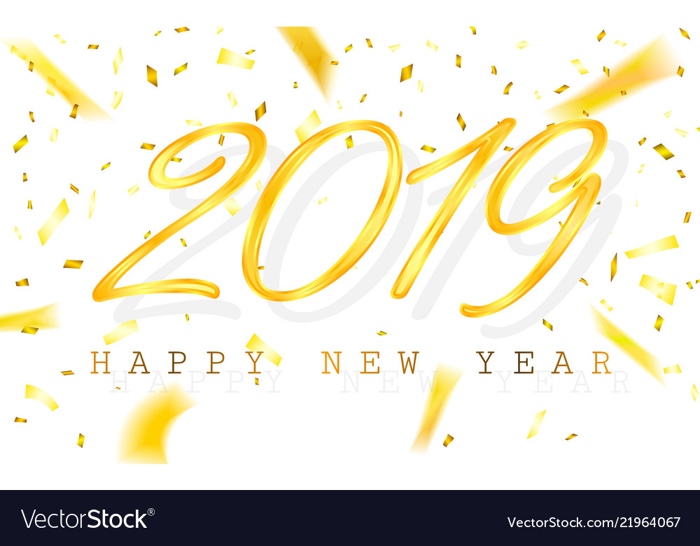 Happy new year 2019 golden numbers with ribbons