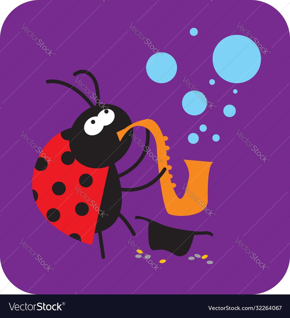 Jazz beetle plays saxophone