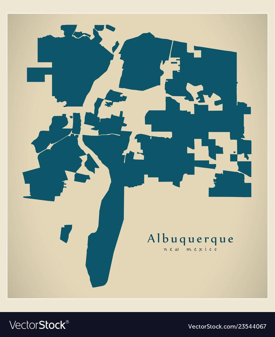 Modern City Map Albuquerque New Mexico City Of Vector Image