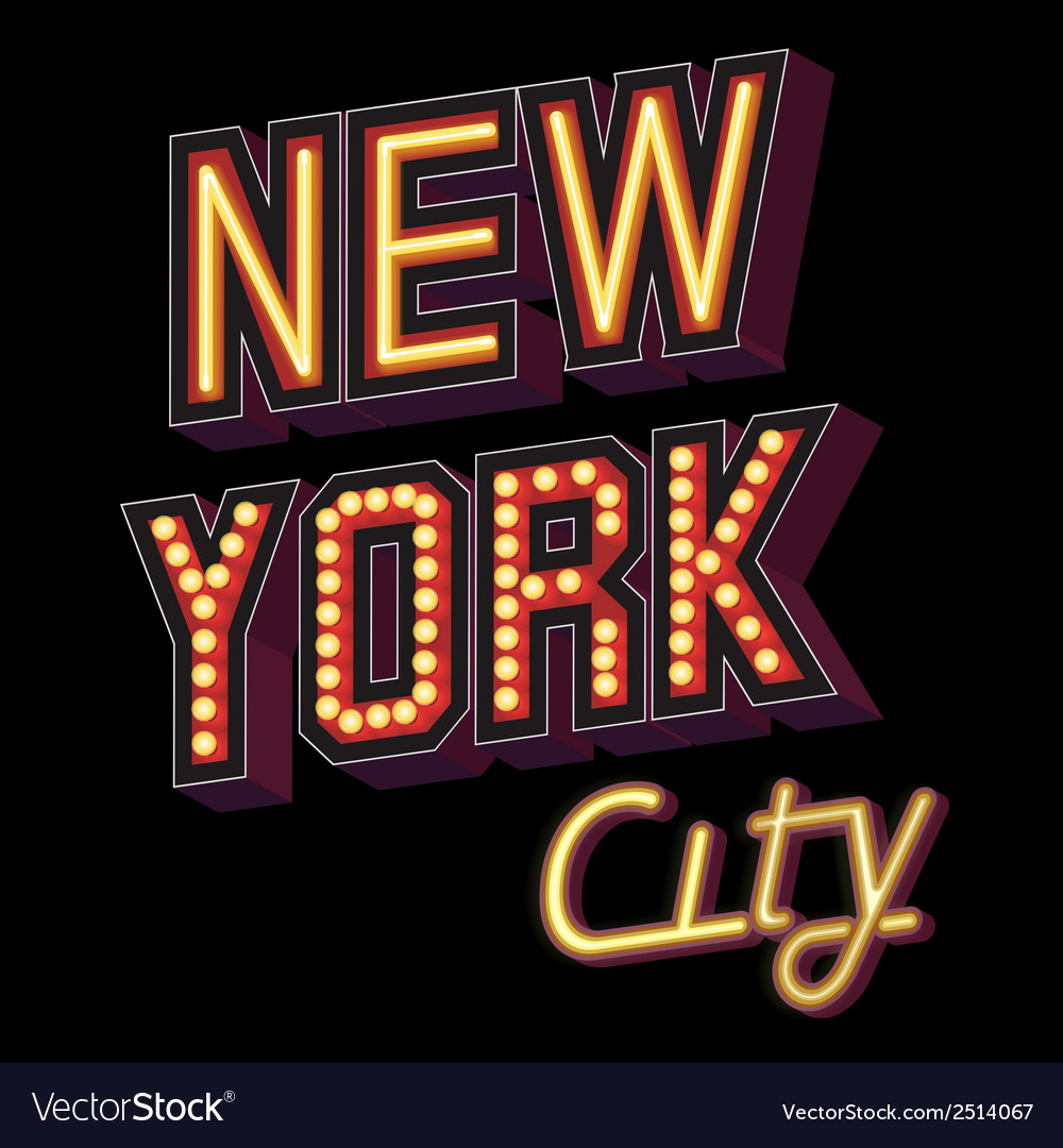 New York City lettering vector image