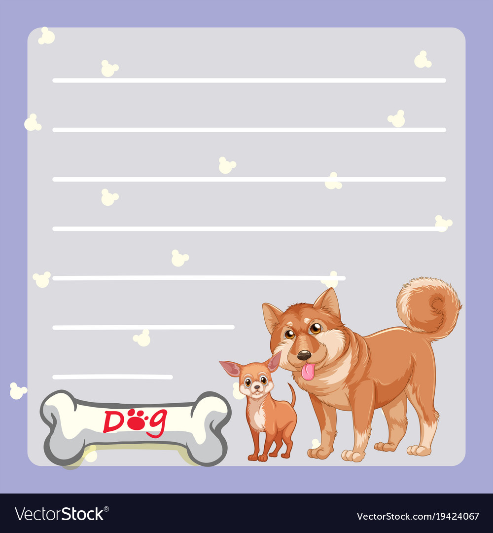 Paper template with two dogs and bone Royalty Free Vector