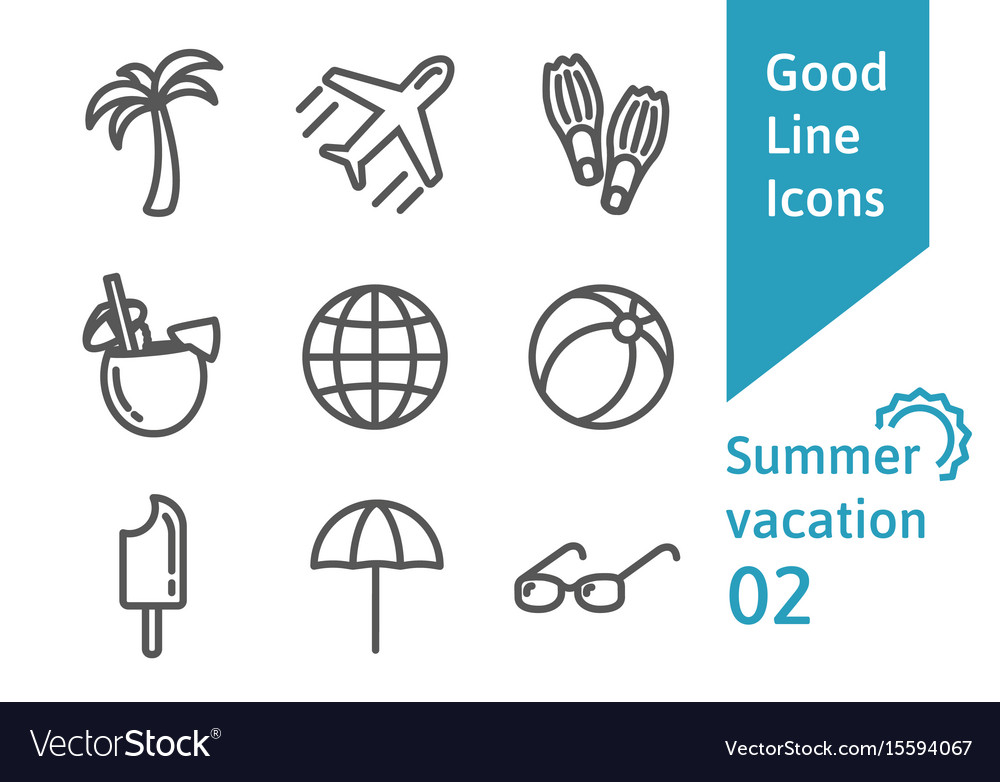 Summer vacatin outline icons set