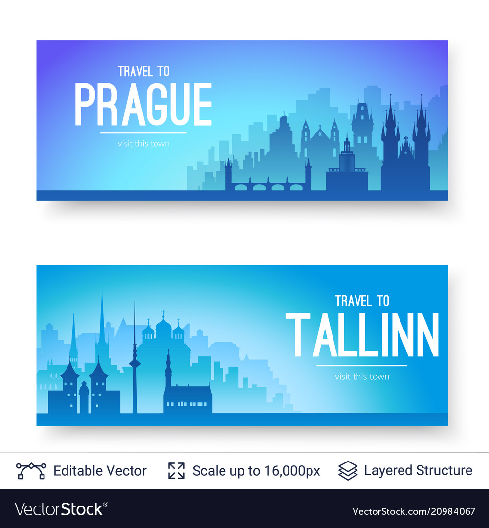 Tallinn and prague famous city scapes