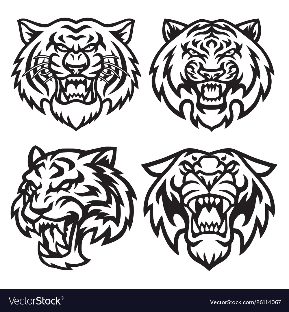 Tiger head logo set collection design