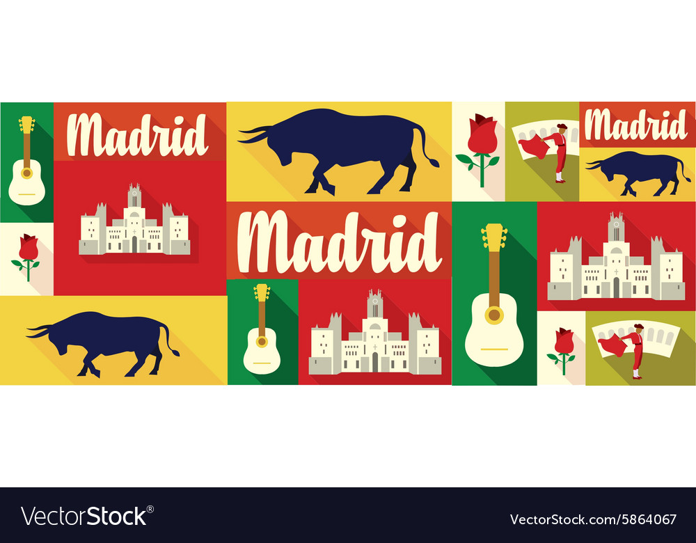Travel and tourism icons Madrid vector image