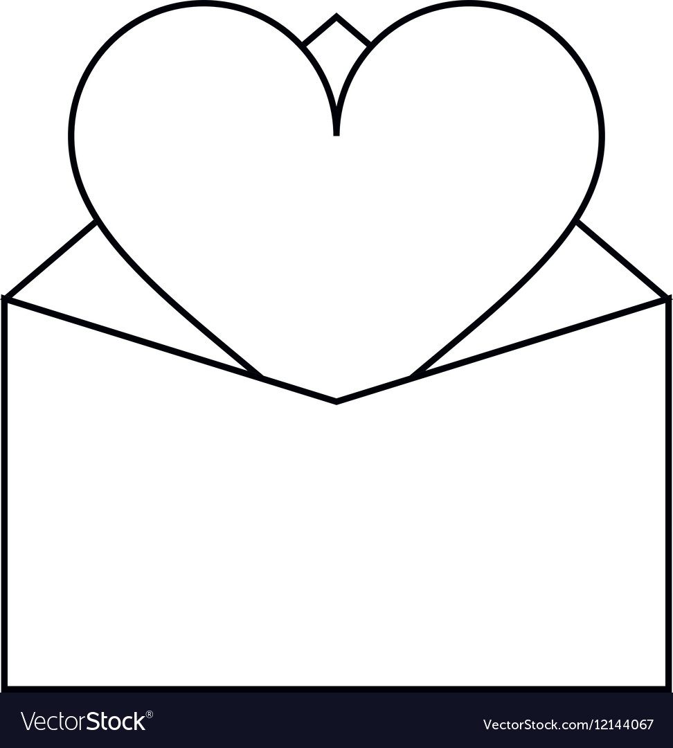 Valentines day romantic mail heart envelope open