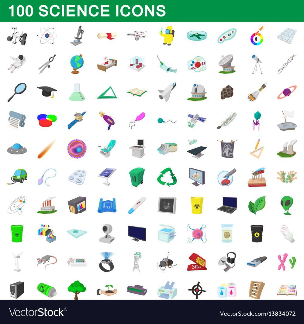 100 science icons set cartoon style