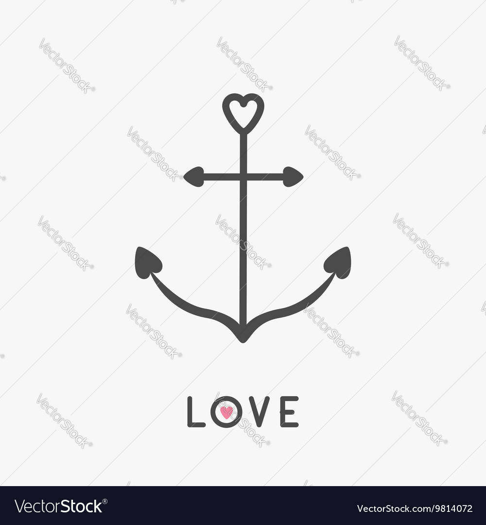 Anchor line icon in shapes of heart Nautical sign vector image