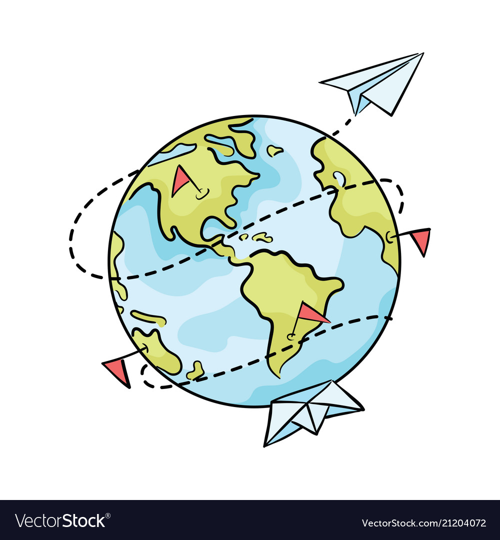 Cartoon planet with paper ships and airplanes