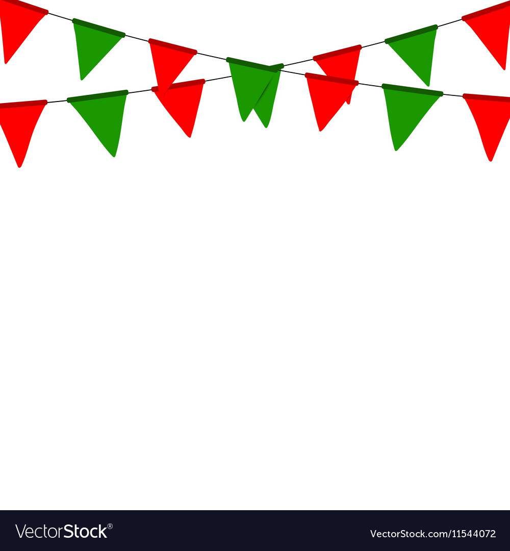 Christmas bunting flag isolated on white