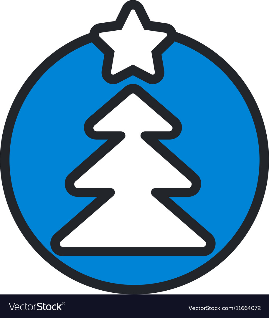 Christmas circle blue icon new year