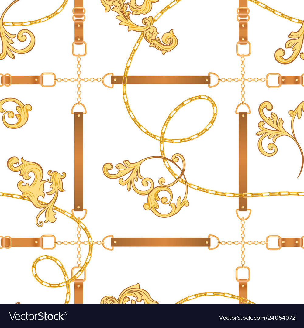 Fabric seamless pattern with golden chains belts