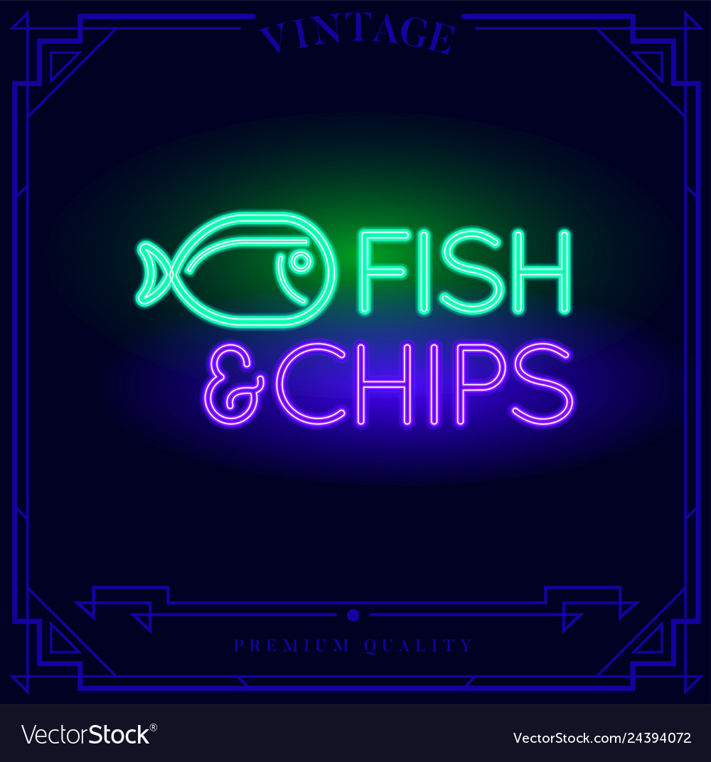 Fish and chips restaurant bar neon light sign