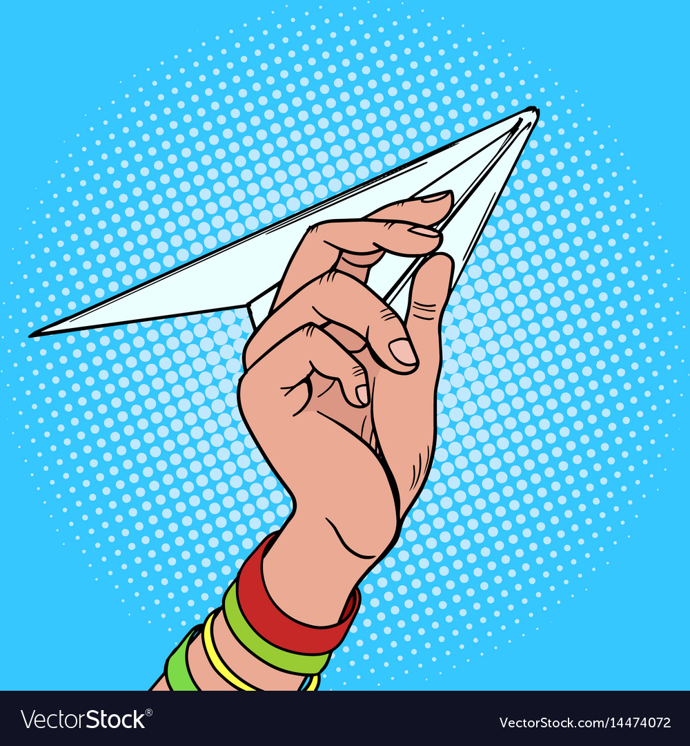 Hand launches paper airplane pop art