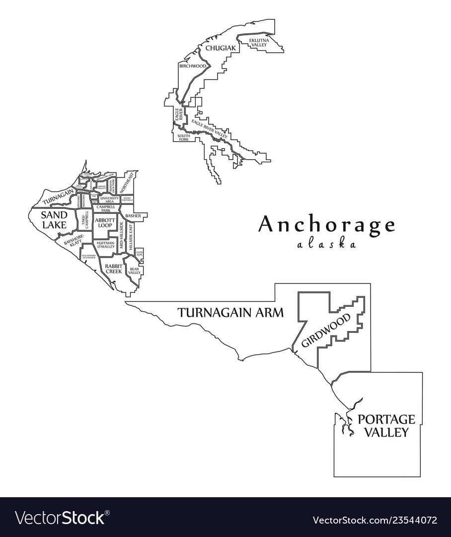 Modern city map - anchorage alaska city of the