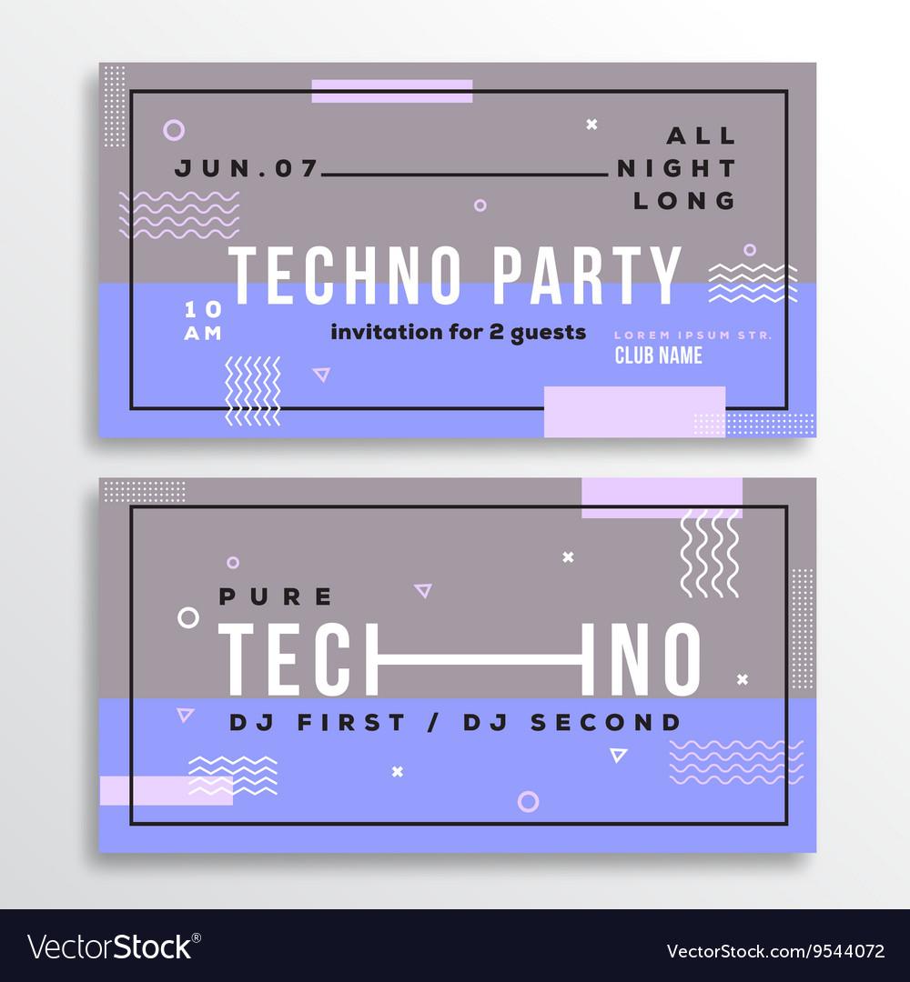Night Techno Party Club Invitation Card or Flyer