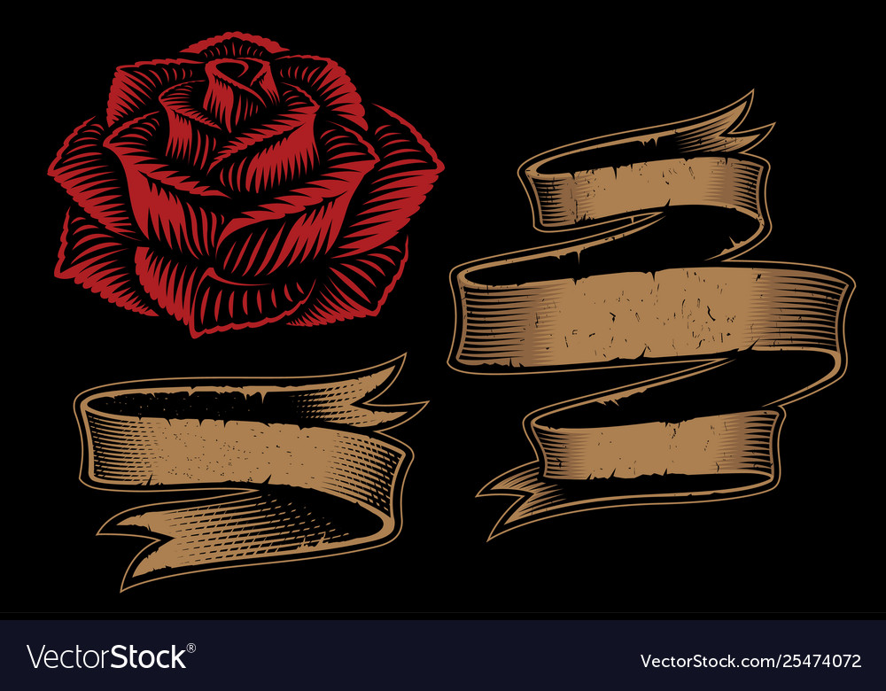 Ribbons and rose