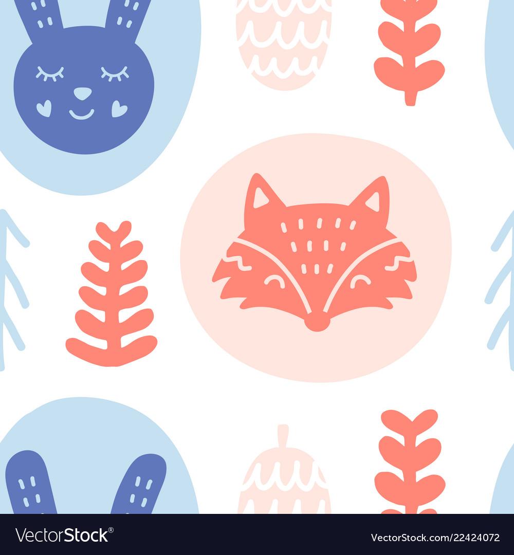 Scandinavian forest animals seamless pattern