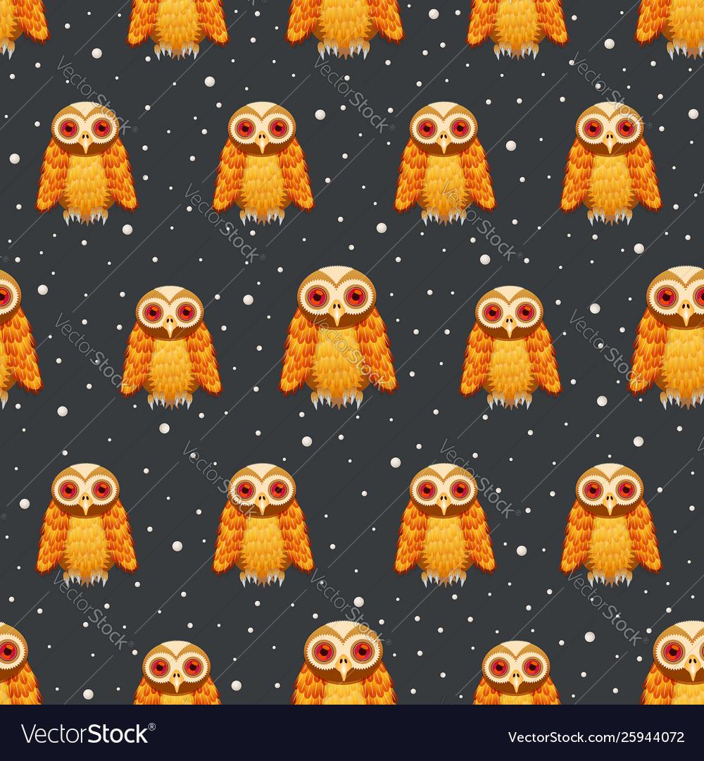 Seamless pattern owl on dark night scene