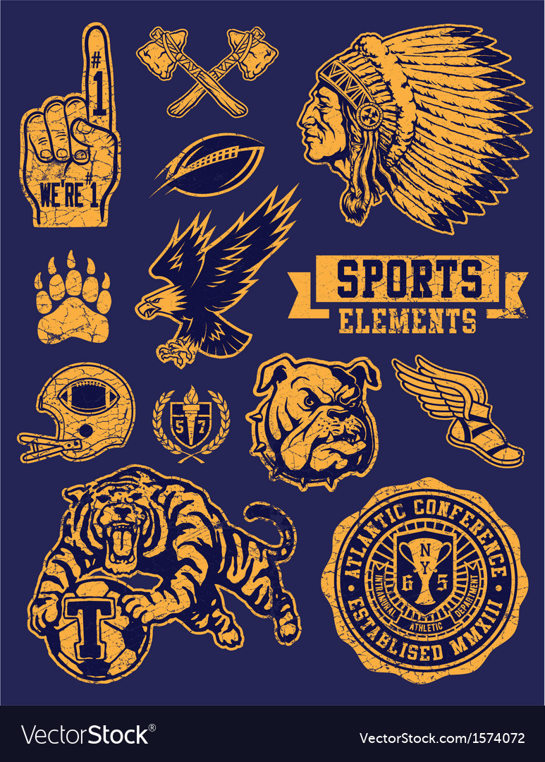Sports mascots and logo set