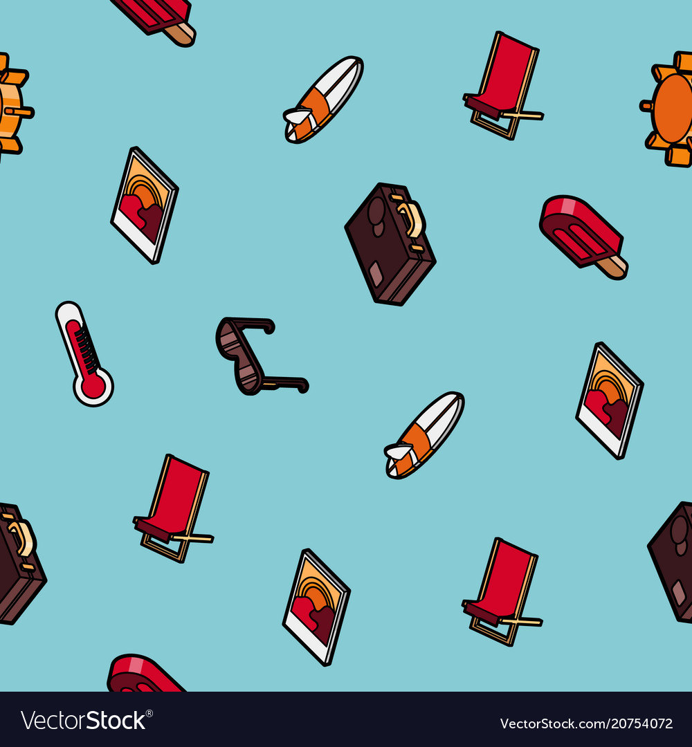 Summer color outline isometric pattern
