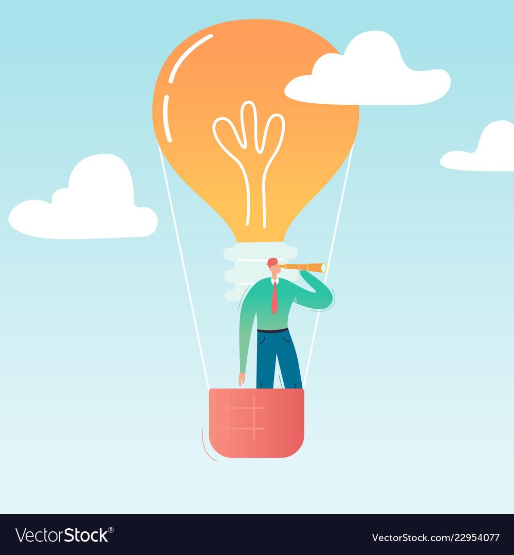 Businessman flying on air balloon with light bulb