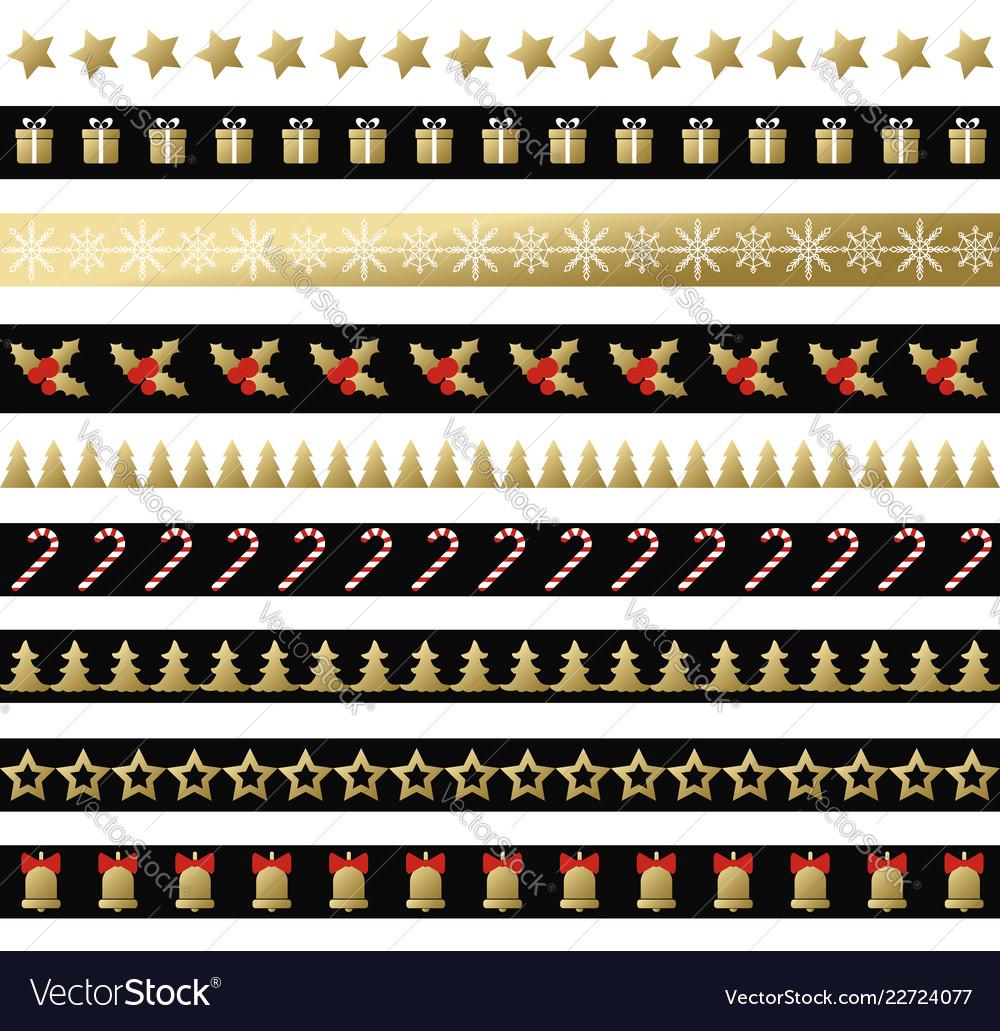 Christmas black and gold seamless borders
