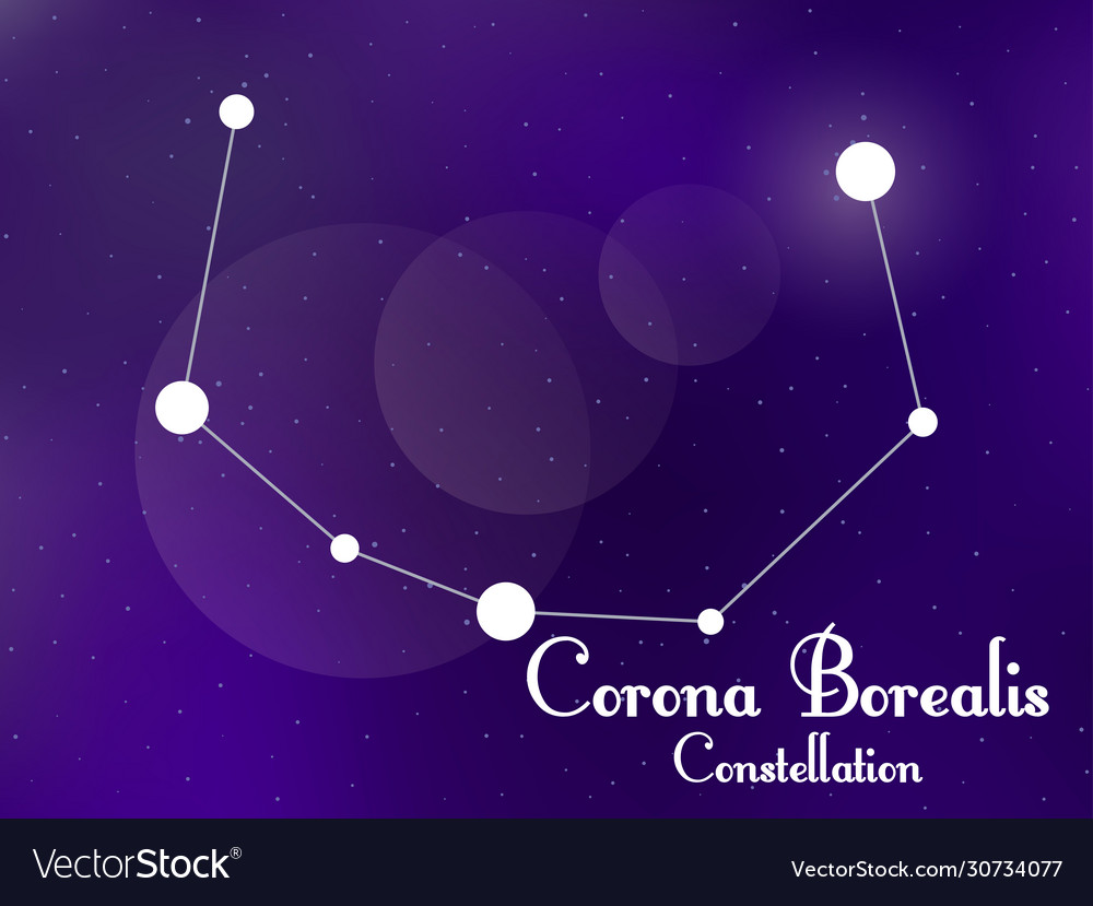 Corona Borealis Constellation Starry Night Sky Vector Image