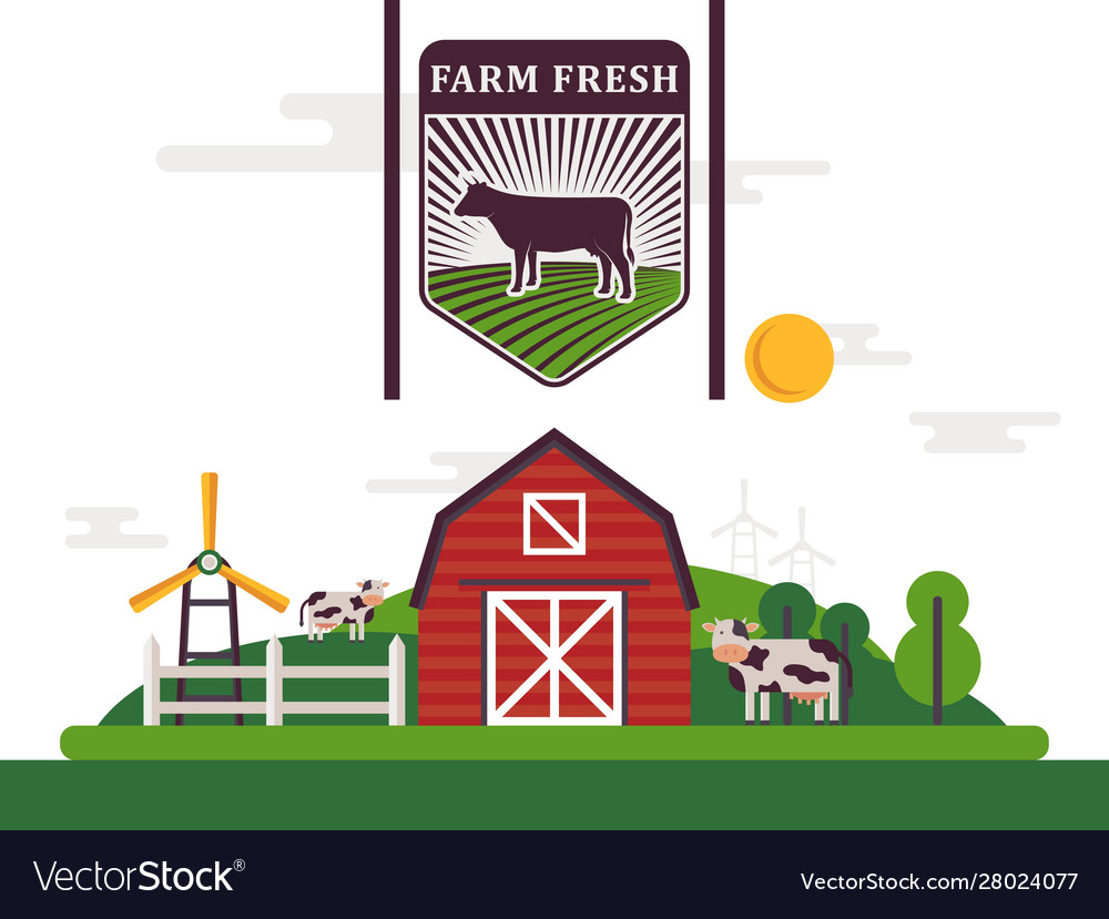 Farm product label flat