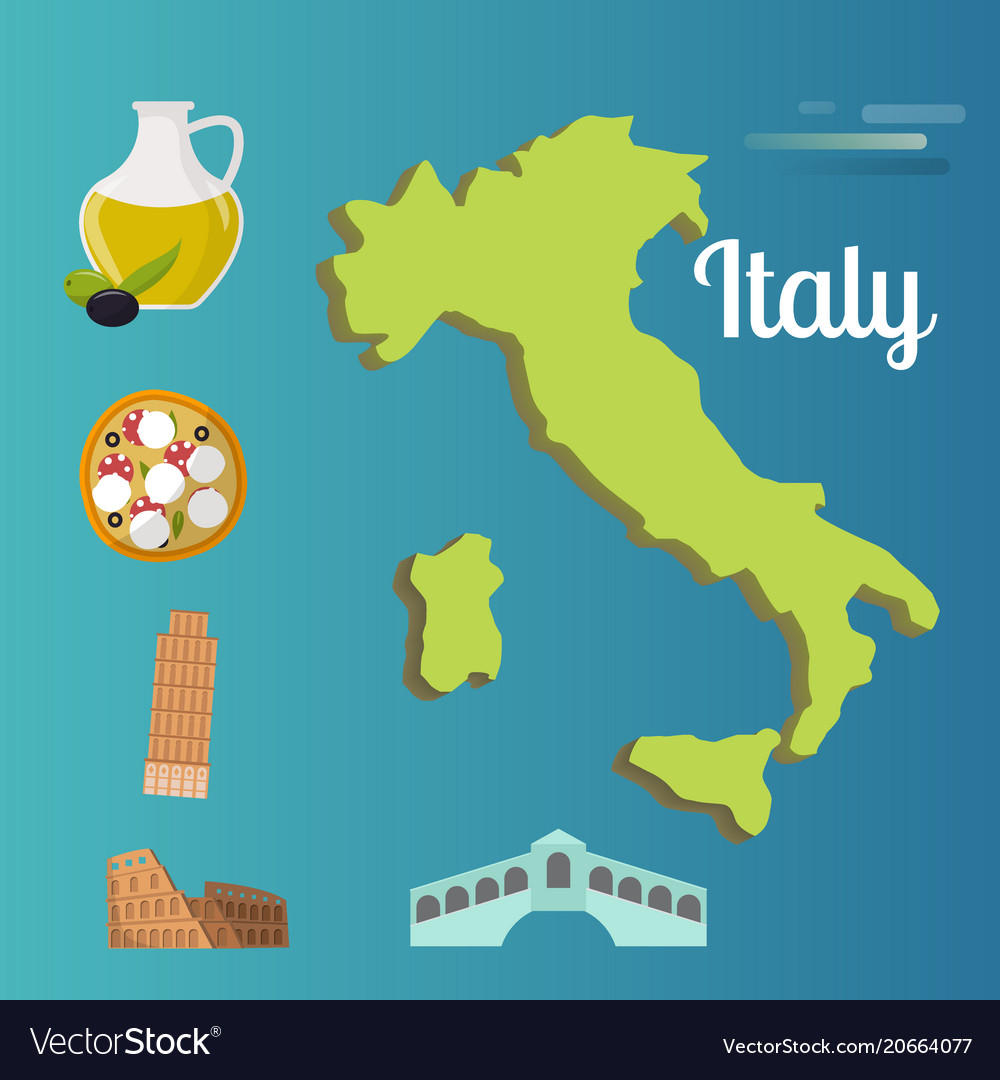 Map Of Italy For Tourists.Italy Travel Map Attraction Tourist Symbols Vector Image