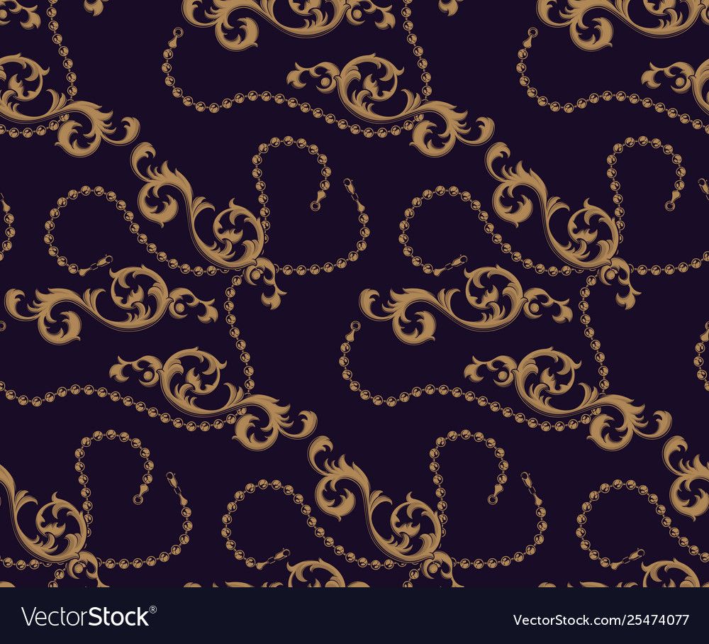 Seamless pattern baroque elements and chains