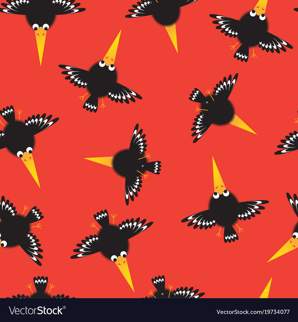 Seamless pattern with funny crow