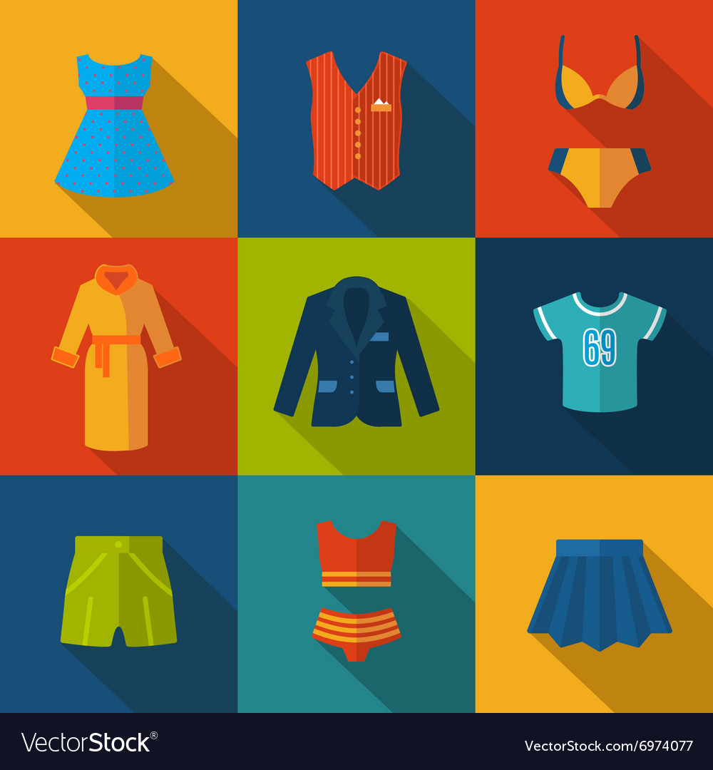 Set with clothes icons