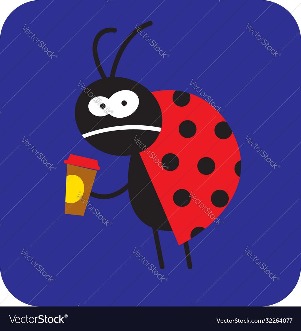 Sleepless beetle with morning coffee